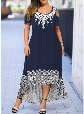 Plus Size Print Short Sleeves A-line Asymmetrical Casual Dress