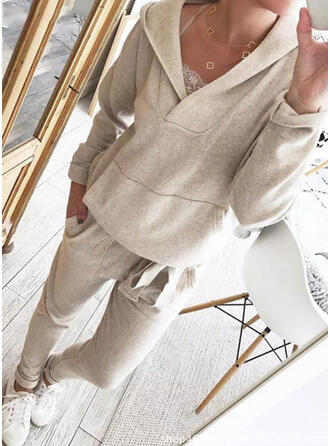 Solid Casual Plus Size Sweatshirts & Two-Piece Outfits Set