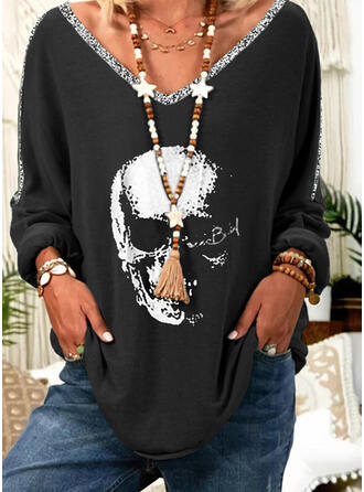 Print Sequins V-Neck Long Sleeves T-shirts