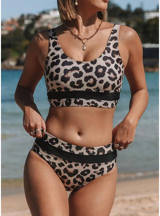 Leopard Splice color Animal Print Strap Round Neck Sexy Bikinis Swimsuits