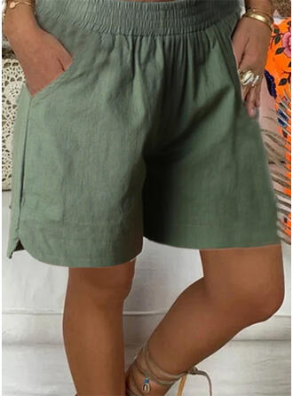 Pockets Shirred Plus Size Above Knee Casual Solid Sporty Shorts