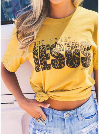 Print Leopard Figure Round Neck Short Sleeves Casual T-shirts