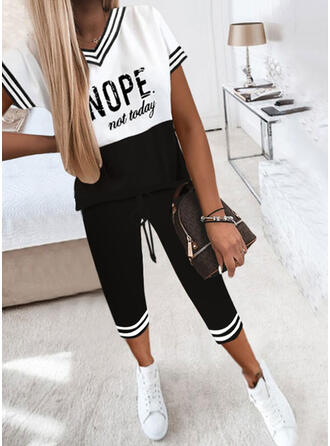 Striped Color Block Print Letter Casual Plus Size Drawstring Two-Piece Outfits