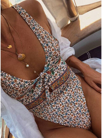Floral Print Knotted Strap U-Neck Cute One-piece Swimsuits