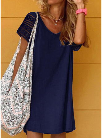 Lace/Solid Short Sleeves Shift Above Knee Casual T-shirt Dresses