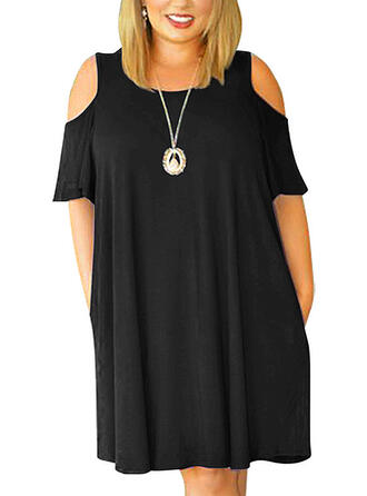 Plus Size Solid Short Sleeves Shift Above Knee Casual Little Black Dress