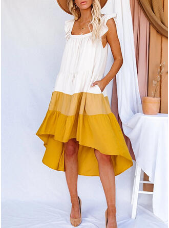 Print/Color Block Short Sleeves Small Flying Sleeve Shift/Asymmetrical Casual/Vacation Dresses