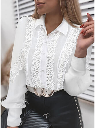 Solid Lace Lapel Long Sleeves Button Up Elegant Shirt Blouses