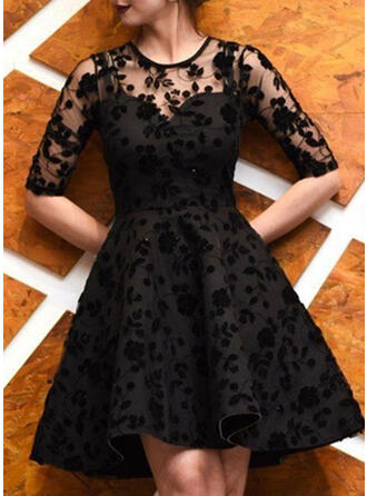 Lace 1/2 Sleeves A-line Knee Length Little Black/Party Dresses
