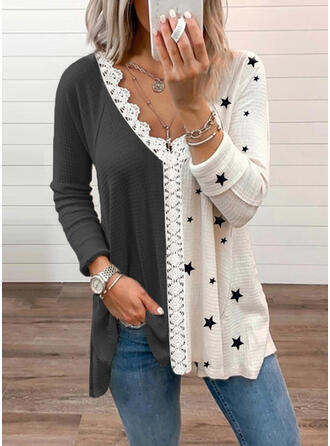 Print Color Block Lace V-Neck Long Sleeves Casual Knit Blouses