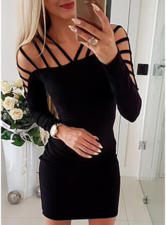 Solid Long Sleeves Bodycon Above Knee Little Black/Sexy/Party Dresses