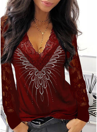 Lace Sequins V-Neck Long Sleeves Elegant Blouses