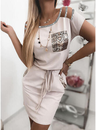 Print/Sequins Short Sleeves Bodycon Above Knee Casual Dresses