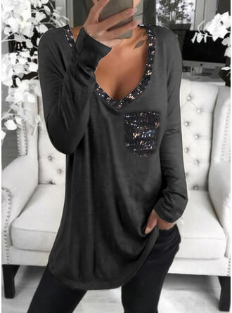 Sequins Solid V-Neck Long Sleeves T-shirts
