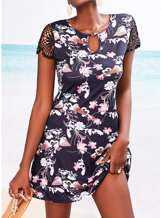 Lace/Print/Floral Short Sleeves A-line Above Knee Casual Skater Dresses