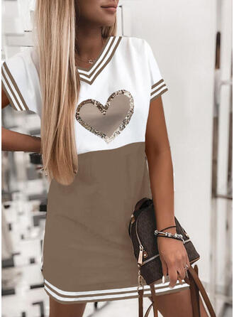 Print/Sequins/Color Block/Striped/Heart Short Sleeves Shift Above Knee Casual T-shirt Dresses