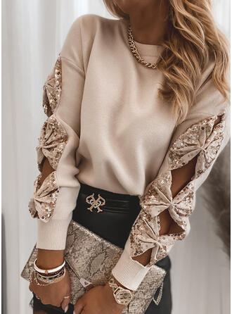 Solid Sequins Round Neck Casual Sweaters