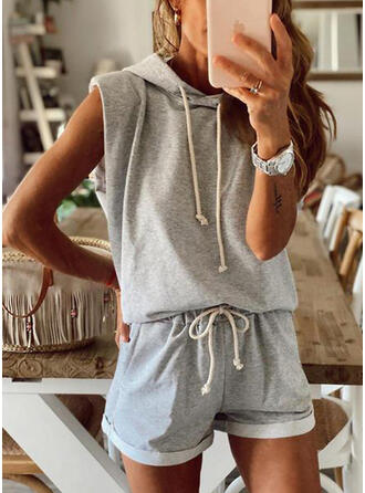 Solid Casual Sporty Drawstring Two-Piece Outfits
