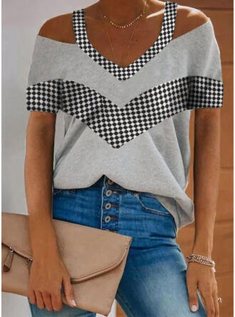Print Plaid Cold Shoulder Short Sleeves Casual Blouses