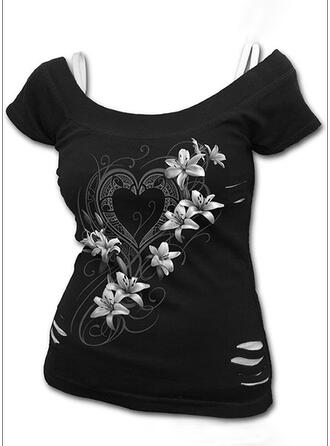 Print Floral Heart Cold Shoulder Short Sleeves Casual Blouses