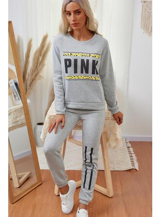 Letter Print Casual Sweatshirts & Two-Piece Outfits Set