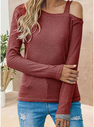 Solid One Shoulder Long Sleeves T-shirts