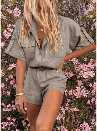 Solid V-Neck 1/2 Sleeves Casual Romper