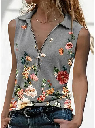 Floral Print Lapel Sleeveless Tank Tops