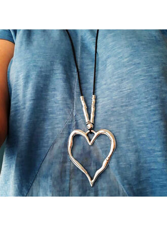 Vintage Heart Shaped Boho Valentine's Day Alloy Braided Rope Women's Necklaces