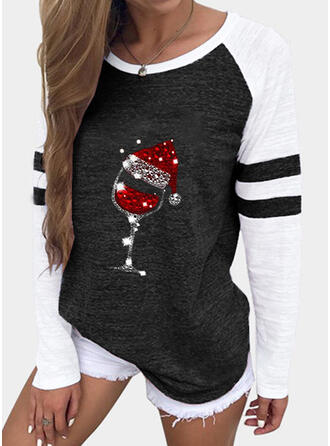 Color Block Print Sequins Round Neck Long Sleeves T-shirts