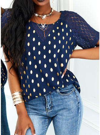 Print Lace Round Neck Short Sleeves Raglan Sleeve Casual Blouses