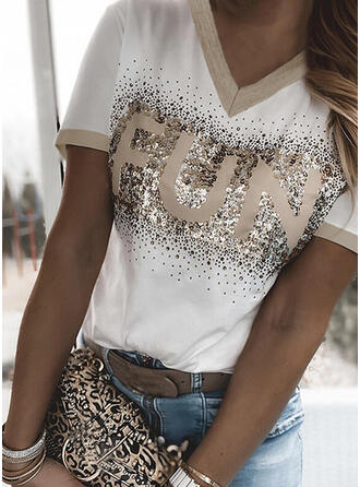 Figure Sequins V-Neck Short Sleeves T-shirts