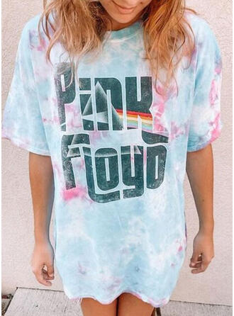 Print Tie Dye Letter Round Neck Short Sleeves T-shirts