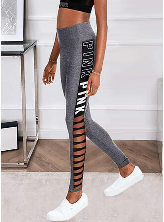 Striped Print Letter Long Casual Hollow Out Pants