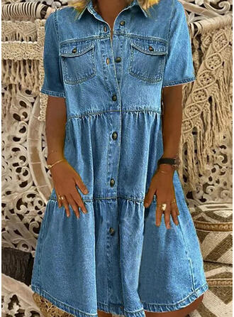 Solid Short Sleeves Shift Knee Length Casual/Denim Shirt Dresses