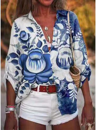 Print Floral Lapel 3/4 Sleeves Casual Blouses