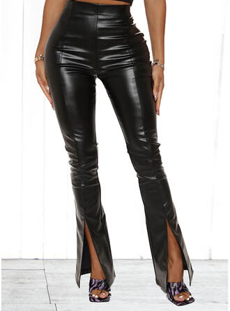 Solid PU Long Casual Sexy Slit Pants