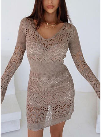 Couleur Unie Ouvertes Col V Long Sexy Robe Pull