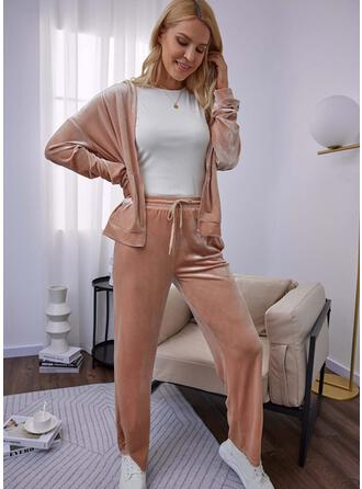 Solid Long Casual Sporty Pants