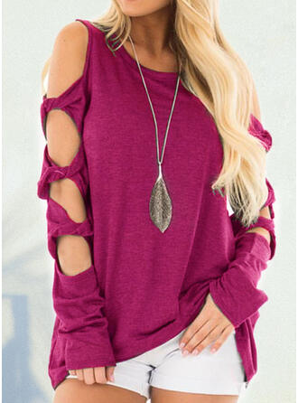 Solid Cold Shoulder Long Sleeves T-shirts