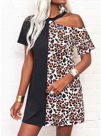 Leopard Short Sleeves Shift Above Knee Casual Tunic Dresses