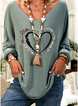 Heart Print Sequins V-Neck Long Sleeves T-shirts