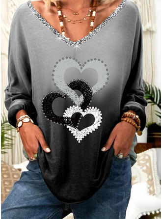 Beaded Gradient Heart Print Sequins V-Neck Long Sleeves T-shirts