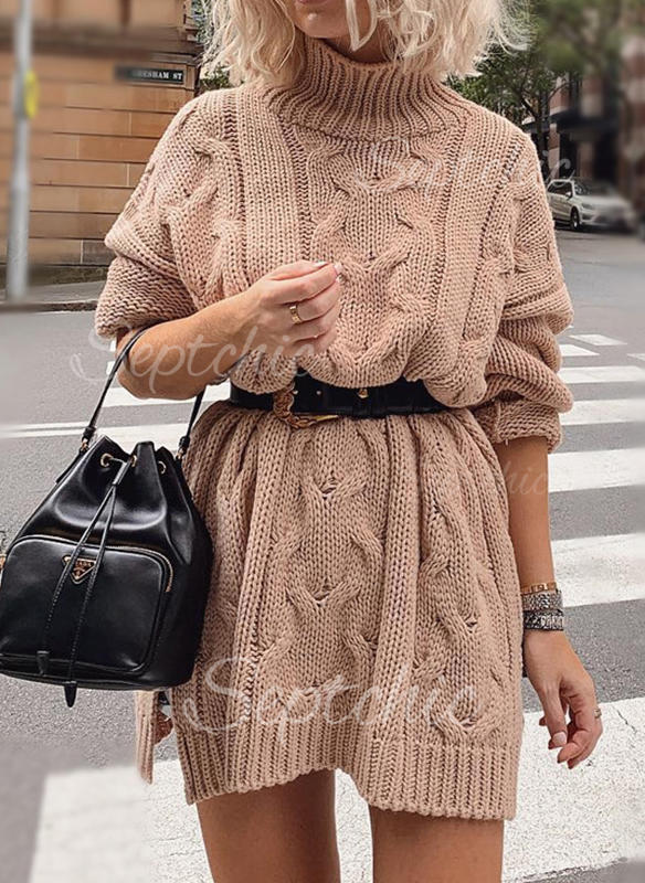 Solid Cable Knit Chunky Knit Turtleneck Casual Long Sweater Dress 1002280481 Sweaters 280481 Septchic